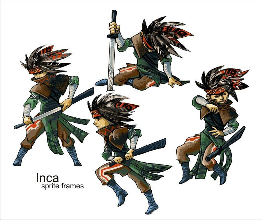 Графика для Battle-анимации главного героя в игре, создаваемой (:) мной в программе RPG Maker XP. Как видите, Inca и здесь появился. С перьями.  А в анимации всё ещё круче (правда мельче :) Это был первый концепт главного героя. так сказать проба пера в создании спрайтов.