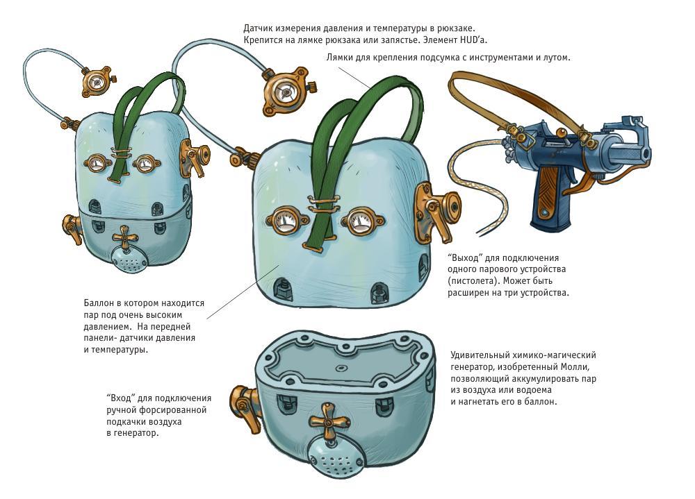 """Генератор Пара - главное и базовое изобретение Молли. Вместе со специальным баллоном, генератор в виде заплечного вещмешка или рюкзака вешается на спину. Генератор в режиме реального времени генерирует из воздуха или из любого доступного водоема (лужа, пруд, бочка с водой) пар, который нагнетает в баллон. К баллону можно присоединить небольшое паровое устройство, т.е. этот генератор является """"котлом"""", для любого подсоединенного портативного """"двигателя"""". Молли изобрела его т.к. путешествую много по механическому лесу, она подвергалась нападению со стороны бродячих роботов, после чего она сконструировала паровой пистолет (см. рисунок). Но всё равно ёмкости простых газовых баллонов было недостаточно для дальних вылазок в лес, поэтому- появился Генератор.  Генератор можно апгрейдить с помощью находимых запчастей и получаемого опыта- увеличивать скорость регенерации, объём баллона, облегчать конструкцию и тем самым освобождать место для дополнительного лута, добавлять дополнительный выход на ещё одно портативное паровое устройство (Double Jump, к примеру) и пр.  Пистолет, стреляющий бесконечными патронами, также можно апгрейдить: увеличивать его мощность, скорость перезарядки, вес, скорострельность и пр."""