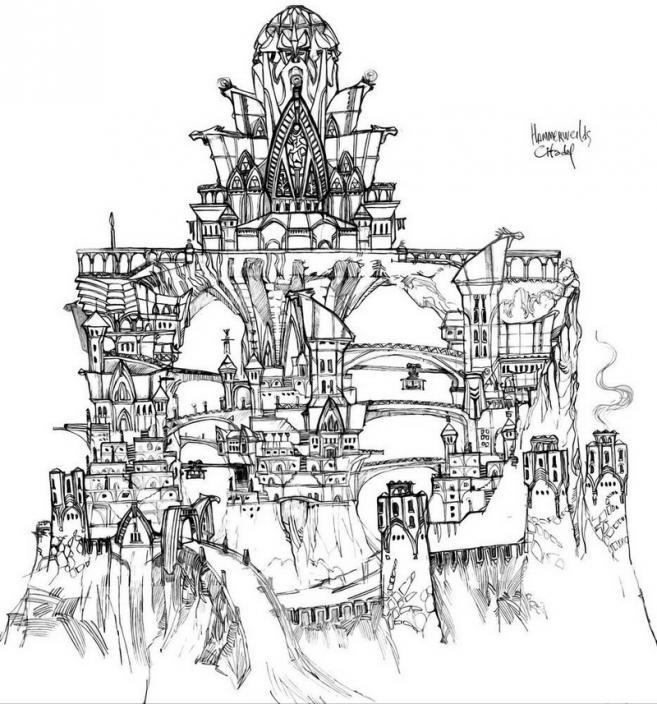 Концепт столицы расы гномов-молотоборцев. Фантасмагорический проект города, расположившегося на трёх огромных сталагмитах.
