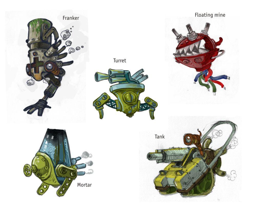 """Вторая группа противников - это роботы, сошедшие с ума детали летучих дредноутов, которые остались по всему миру с последней Механической войны. Т.к. в мире существует ещё и магия, то вполне могут """"оживать"""" горелые поршни и разорванные паровые котлы. Это самые серъёзные противники, с которыми Молли придется по-настоящему бороться."""